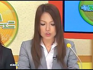 Japanese Newsreader Ayumu Sena And Fuuka Minase Squir...