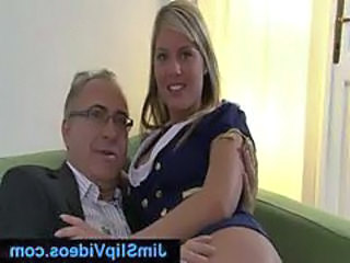 British girl with white stockings and older guy