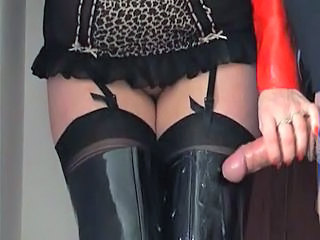 Slut Wife Lets Stranger Spunk Over Her Thigh Boots
