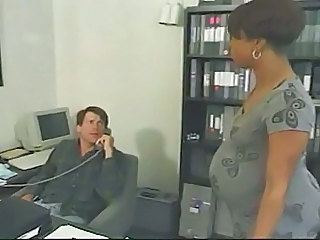 Fluent ebony takes white cock in the office