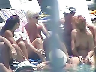 3 Chicks Nude at Pool - Redhead, Blonde, Brunette