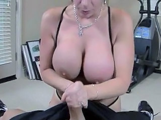 Large Boobed Sara Jay bends down her head and Swallow a hard...