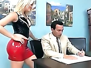 Blonde gives a footjob and foot worship in boots