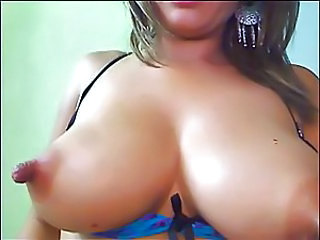 Hot Latina with big nipples on webcam