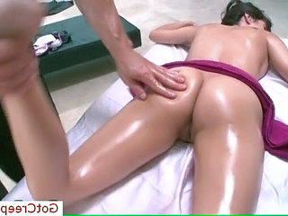 April Oniel spreading wide for massage