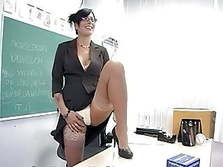Hot brunette teacher masturbates in classy lingerie
