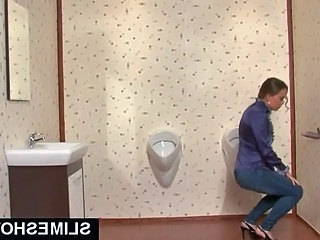 Classy girl sucks dick at toilet...