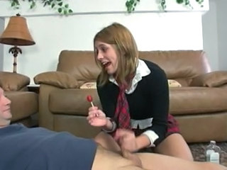 College girl does handjob