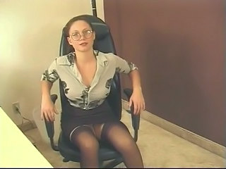 Office gal in stockings and...