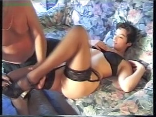 French brunette with oldman and young