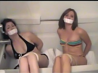 Two Cute Barefoot Girls - Delimit together with Gagged