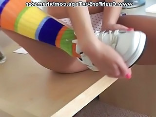 Sporty chick in half hose strips naked