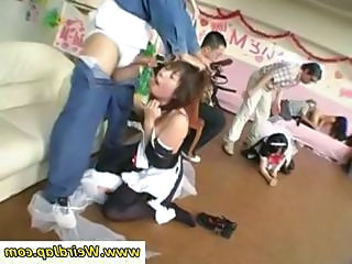 Asian maids are concocted nigh give blowjobs in this group sex scene