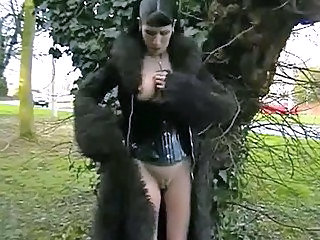 Goth babes public nudity and rude outdoor flashing