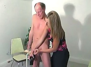 Hot Boss Girl Jerking Old Man -F70