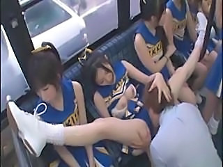 Horny Japanese Cheerleaders In A Hot Group Mating Fuck For Circa
