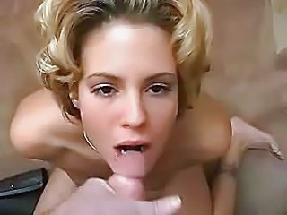 Blonde bitch swallowing the cum