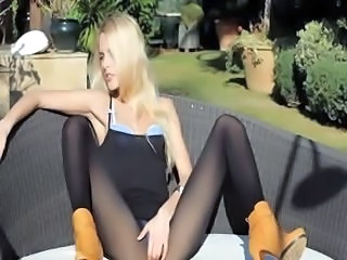 Incredible blonde in shoes tease