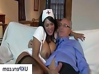 Busty brunette nurse gives her age-old pauper patient and error-free blowjob