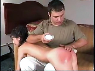Brunette Danielle Is Spanked Which Makes Her Masturbate With A Toy