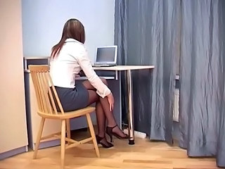 Secretary Sex In Sheer Crotchless Pantyhose