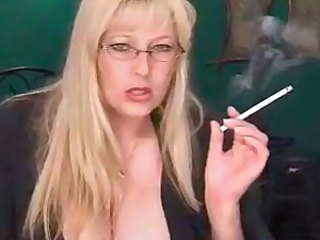 Sexy Mature Blonde Smoking Solo