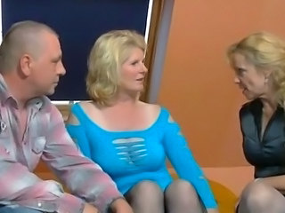 2 older german women and a guy having fun