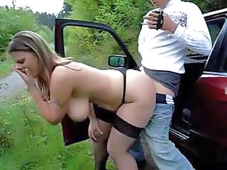 Busty Brunette Love Fuck Outdoor