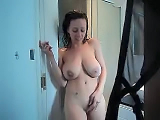 Can brunette with big tits shower business
