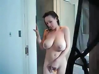 naughty brunette milf obtains a adorable big-busted bath