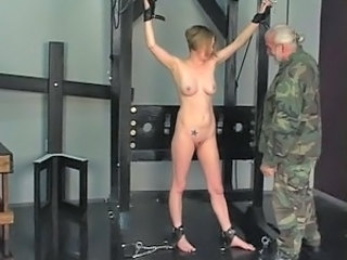 Hard quartering turns this slave soldier girl& 039;s ass bright overheated i...