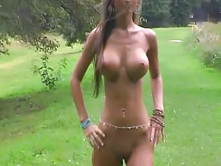CRAZY hot nude Euro chick parades around in a limit