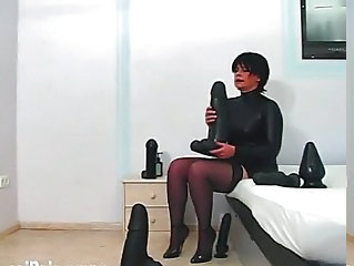 Balked wed fucking gigantic dildos