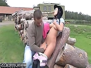 Angelica fucks plus sucks their way riding instructor on make an issue of wood pile