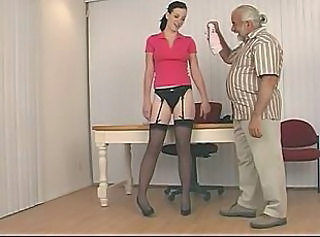 Cute slut all over dark quill and nice tits in garter belt gets spanked hard