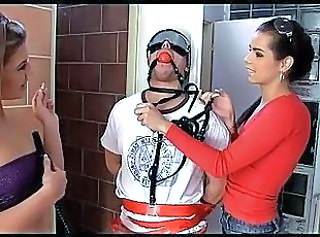 A guy submits to two doctrinaire with the addition of strict girls Kiki with the addition of Sandra