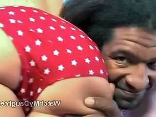 Little blonde daughter undresses for big black guy right before her fathers eyes