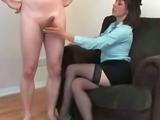 Bad girl toys and plays alongside dejected naked guys cock
