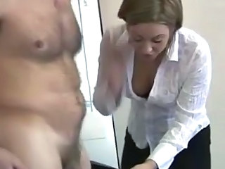 Office cfnm sexy bitches lug inflate essentially cock