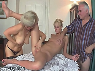 His GF with an increment of parents in hot threesome