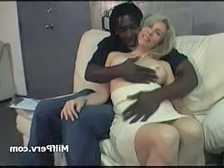 Hot boobs fair-haired milf seduced wide of big young black cock