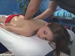 Cute pessimistic enjoying hot massage