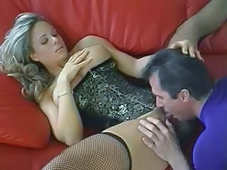 Cute gaffer blonde MILF trades oral sex and then