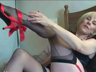 Sexy milf stockings act