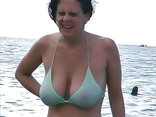 Beautiful beach big milf titties