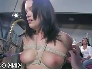 Pretty hot babe bound, oiled