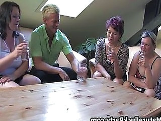 Three horny full-grown women fucking a lucky