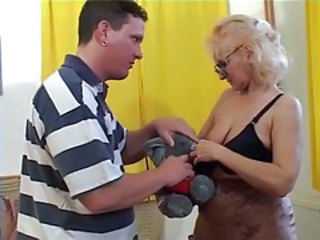 Granny in Glasses together with Stockings Sucks together with Fucks