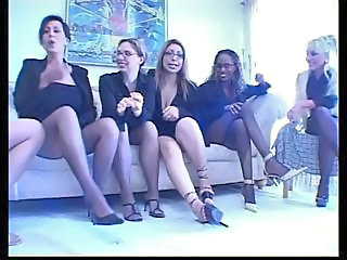 Four busty MILFs get together to play prevalent strap ons