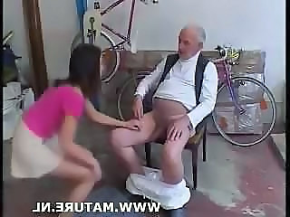 Superannuated Man Doing Teen After Showing Off A Bike
